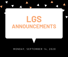 Announcements 9.14.20