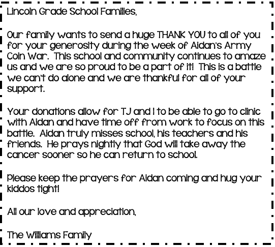 Williams Family Thank You